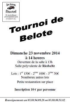 Affiche du tournoi de belote organisé dimanche 23 novembre 2014 à Riedseltz.