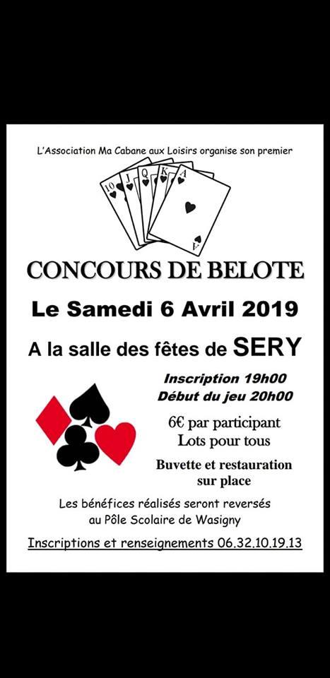 Concours de belote le 6 avril 2019 à Sery (08)