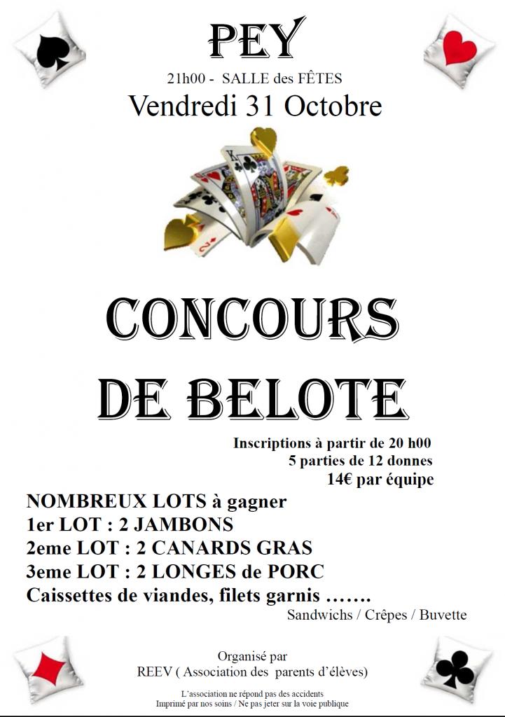 Affiche du concours de belote organisé le 31 octobre 2014 à Pey (40).