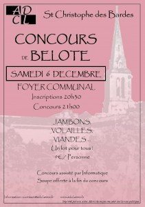 Affiche du concours de belote organisé le 6 décembre 2014 à Christophe des Bardes, en Gironde (33).