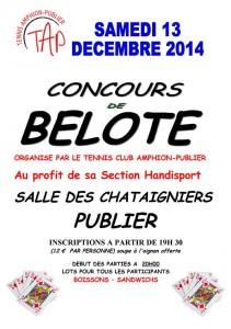 Affiche du concours de belote organisé samedi 13 décembre 2014 à Publier, en Haute Savoie (74).