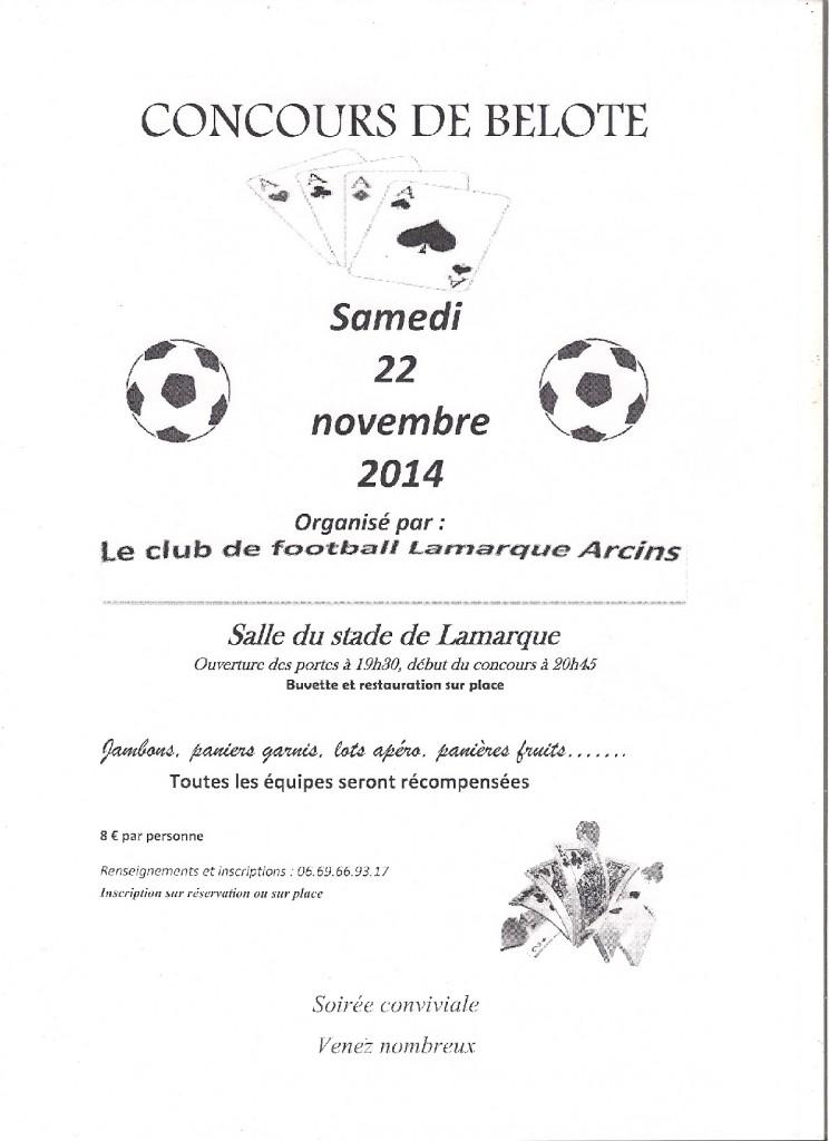 Affiche du concours de belote organisé samedi 22 novembre 2014 à Lamarque, en Gironde (33).