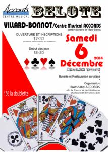 Affiche du concours de belote organisé samedi 6 décembre 2014 par le Brass Band Accords à Villard Bonnot, en Isère (38).