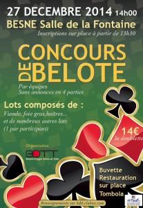 Affiche du concours de belote le 27 décembre 2014 à Besné par le club de tennis.