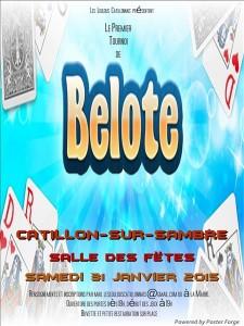 Affiche du concours de belote organisé le 31 janvier 2015 à Catillon Sur Sambre, dans le Nord (59).