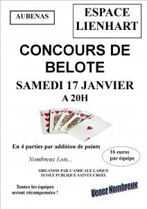 Affiche du concours de belote organisé le 17 janvier 2015 à Aubenas, en Ardèche (07).