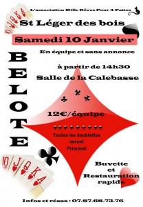 Affiche du concours de belote organisé le 10 janvier 2015 à Saint Léger Des Bois, dans le Maine et Loire (49).