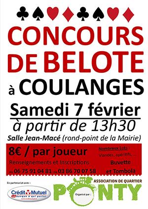 Concours de Belote samedi 7 février 2015 à Coulanges Les Nevers – Nièvre