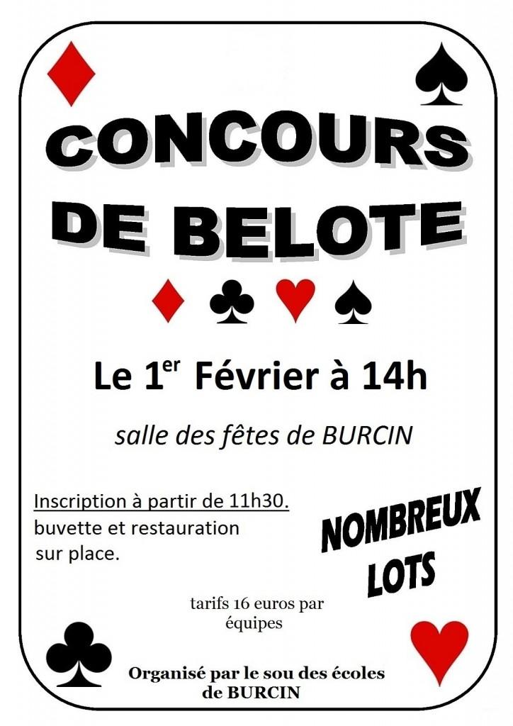 Affiche du concours de belote organisé dimanche 1er février 2015 à Burcin, en Isère (38).