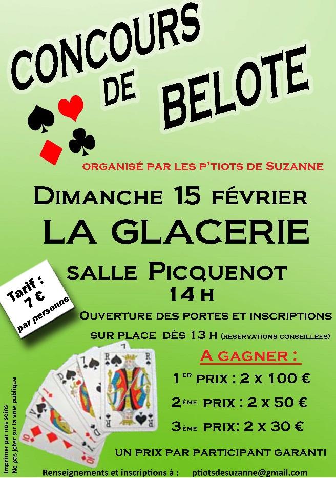 Affiche du concours de belote organisé dimanche 15 février 2015 à La Glacerie, dans la Manche (50).