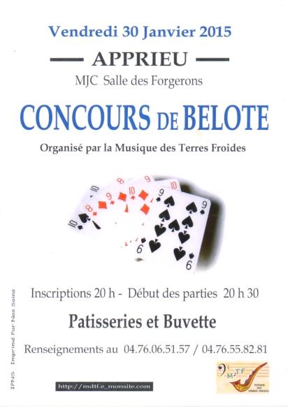 Affiche du concours de belote organisé vendredi 30 janvier 2015 à Apprieu, en Isère (38).