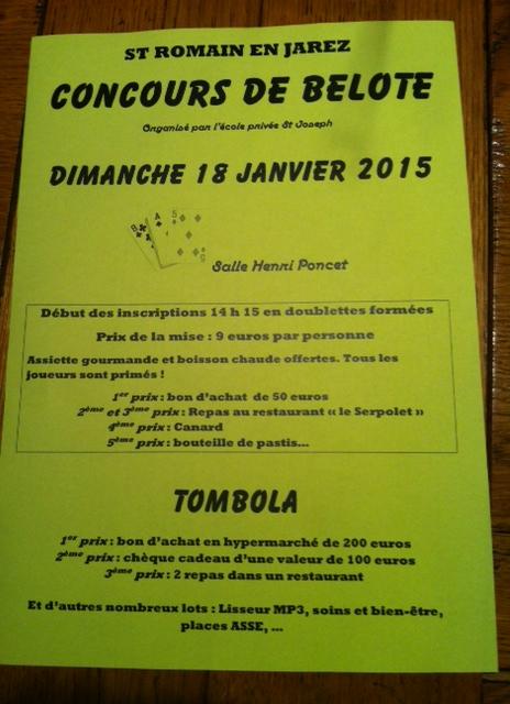 Concours de belote le 18 janvier 2015 à St Romain en Jarez