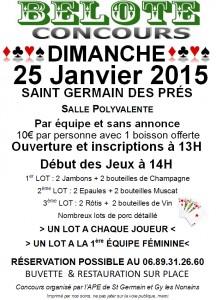 Affiche du concours de belote organisé dimanche 25 janvier 2015 dans la commune de Saint Germain des Prés, dans le Loiret (45).