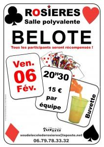 Affiche du concours de belote organisé vendredi 6 février 2015 dans la commune de Rosières, en Ardèche (07).