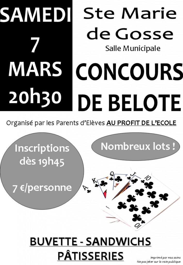 Affiche du concours de belote organisé samedi 7 mars 2015 dans la commune de Sainte Marie de Gosse, dans les Landes (40).