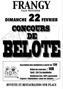 Affiche du concours de belote organisé dimanche 22 février 2015 à Frangy, en Haute Savoie (74).