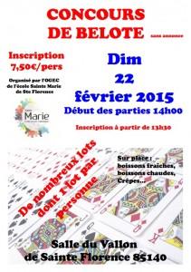 Affiche du concours de belote organisé dimanche 22 février 2015 à Sainte Florence, en Vendée (85).
