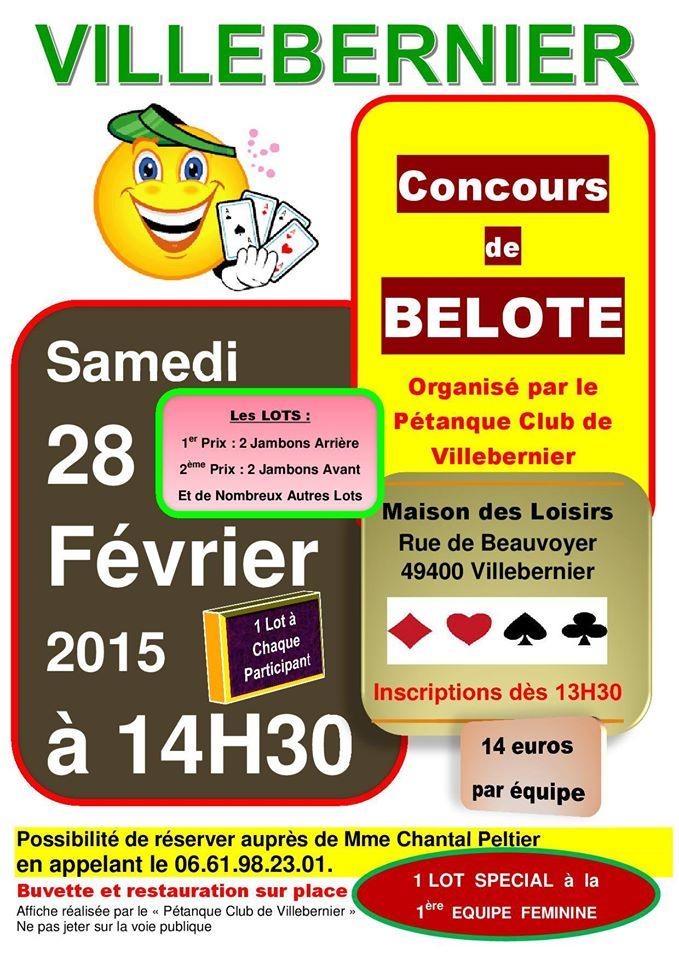 Affiche du concours de belote organisé samedi 28 février 2015 à Villebernier, dans le Maine et Loire (49).