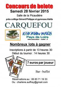 Affiche du concours de belote organisé samedi 28 février 2015 à Carquefou, en Loire Atlantique (44).