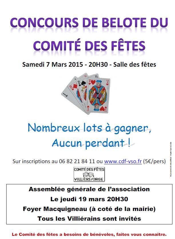 Concours belote 7 mars à Villiers sur Orge – Essonne