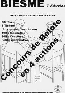 Affiche du concours de belote organisé samedi 7 fevrier 2015 à Biesme-Mettet, en Belgique.