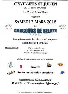 Affiche du concours de belote organisé samedi 7 mars 2015 à Orvilliers Saint Julien, dans l'Aube (10).