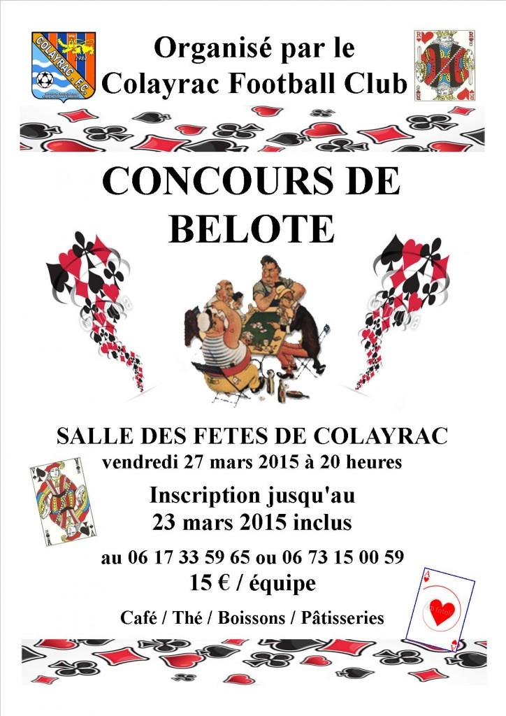 Affiche du concours de belote organisé vendredi 27 mars 2015 à Colayrac Saint Cirq, dans le Lot et Garonne (47).
