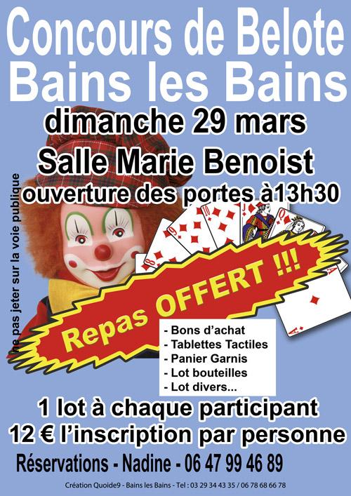 Concours de belote le 29 mars 2015 à Bains les Bains – Vosges