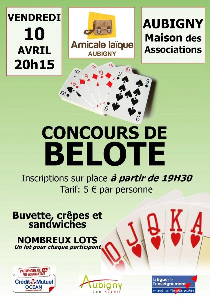Affiche du concours de belote organisé bendredi 10 avril 2015 dans la commune d'Aubigny, en Vendée (85).