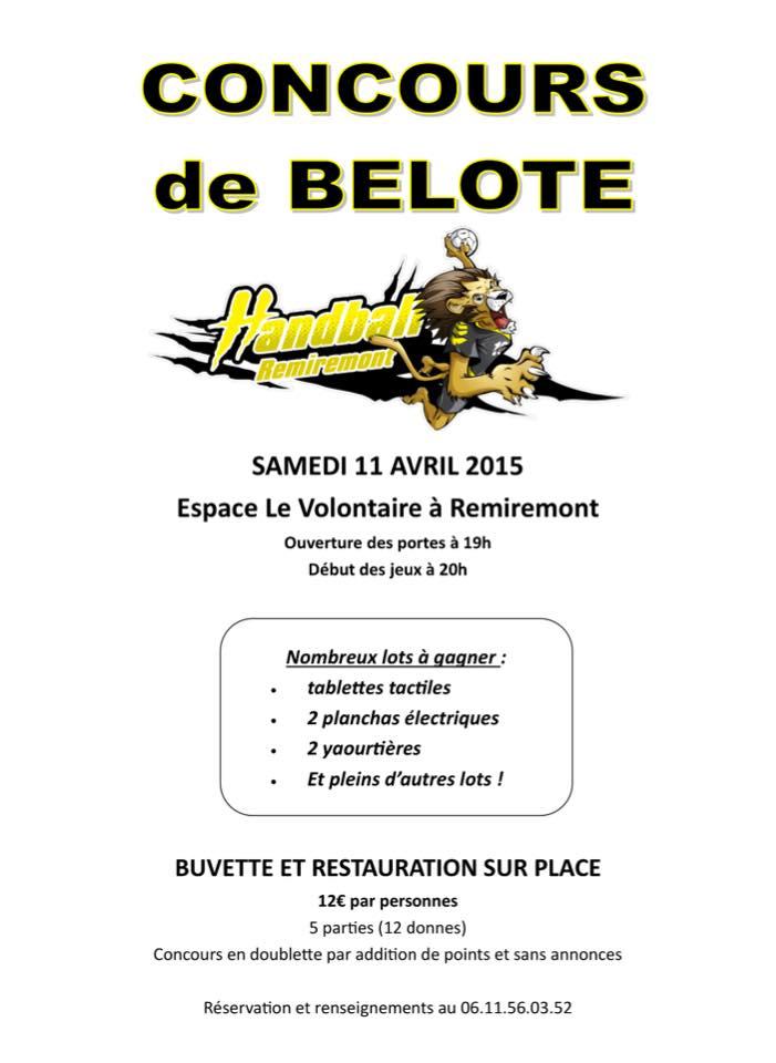 Affiche du concours de belote organisé samedi 11 avril 2015 à Remiremont, dans les Vosges (88).