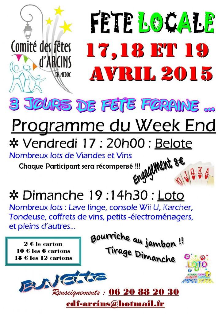 Affiche de la fête à Arcins, en Gironde (33), au cours de laquelle sera organisé un concours de belote.