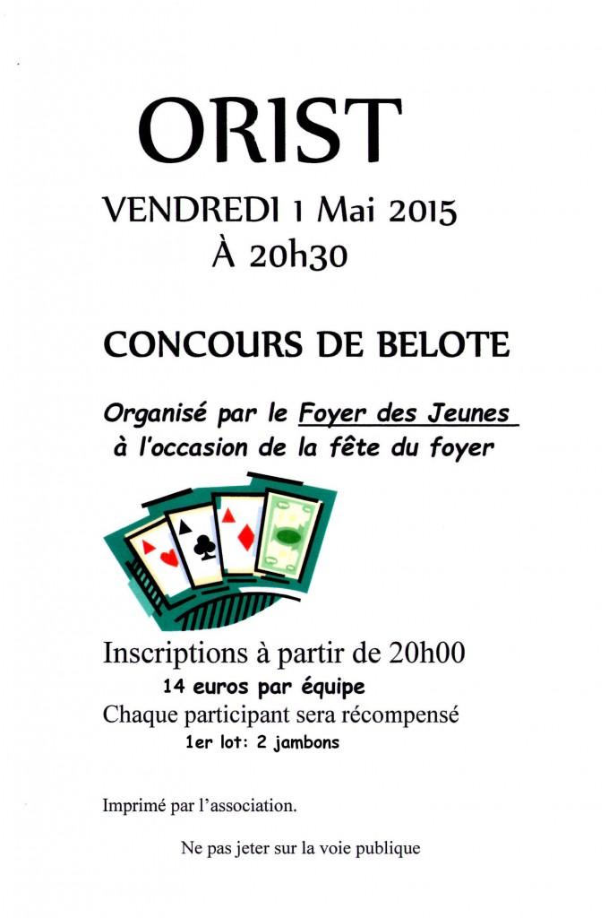 Affiche du concours de belote organisé vendredi 1er mai 2015 à Orist, dans les Landes (40).