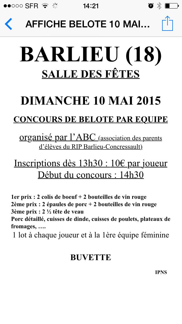 Concours de belote le dimanche 10 mai 2015 à Barlieu