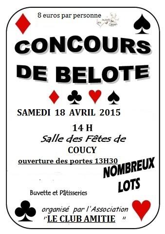 Affiche du concours de belote organisé samedi 18 avril 2015 à Coucy, dans les Ardennes (08).
