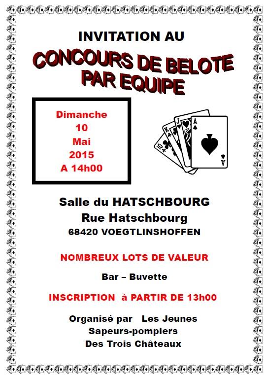 Concours de belote par équipe le 10 mai 2015 à Voegtlinshoffen