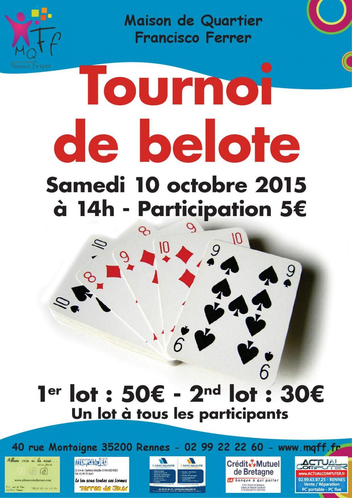Tournoi de Belote Samedi 10 octobre 2015 à Rennes