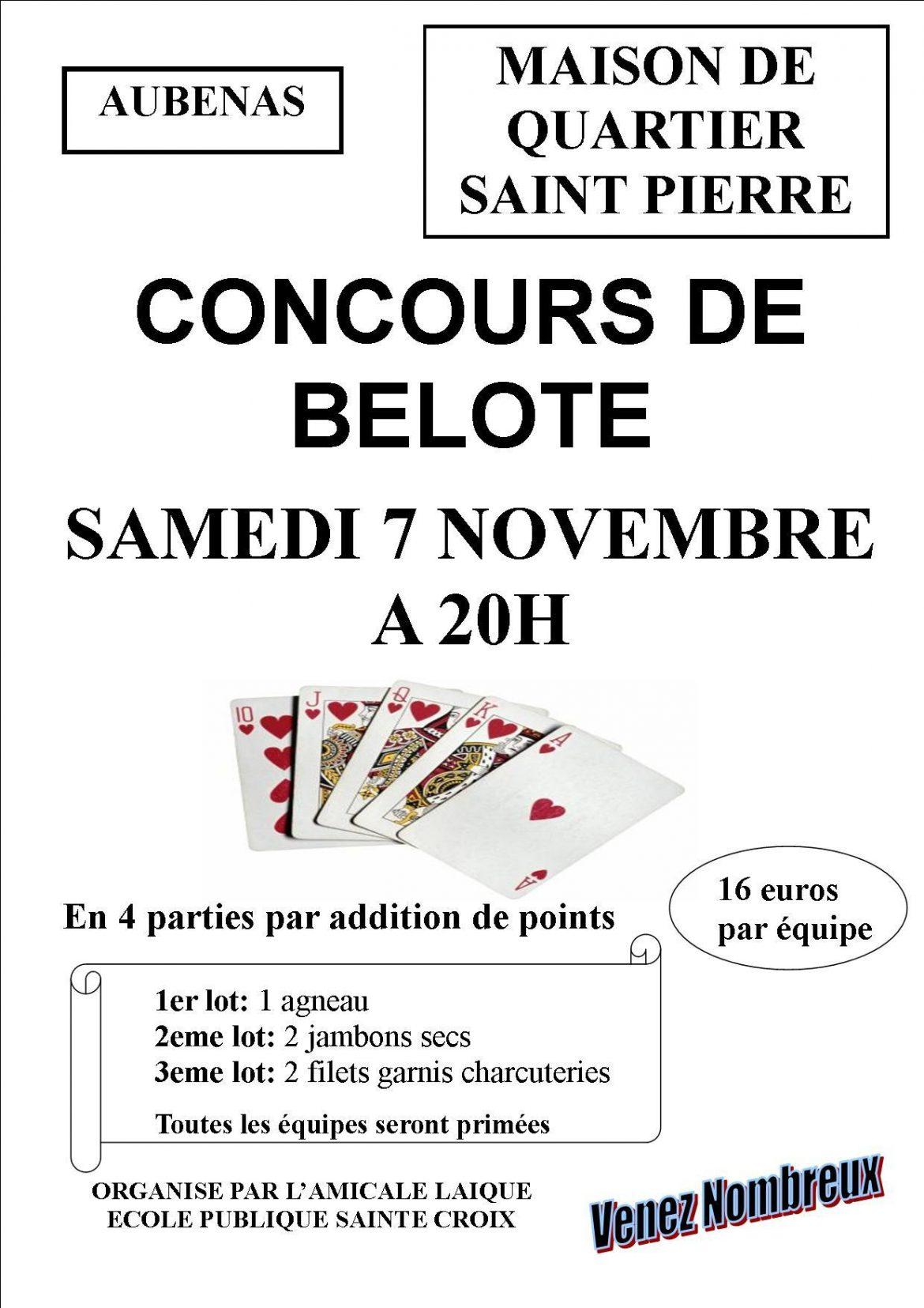 Concours de belote le 07/11/15 à Aubenas – Ardèche