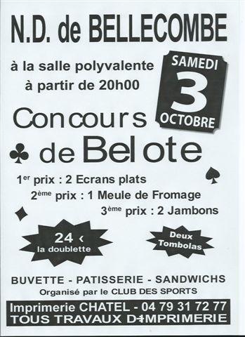 Affiche du concours de belote organisé vendredi 3 octobre 2015 à Notre Dame de Bellecombe, en Savoie (73).