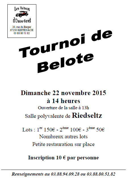 Tournoi de belote le 22 novembre 2015 à Riedseltz