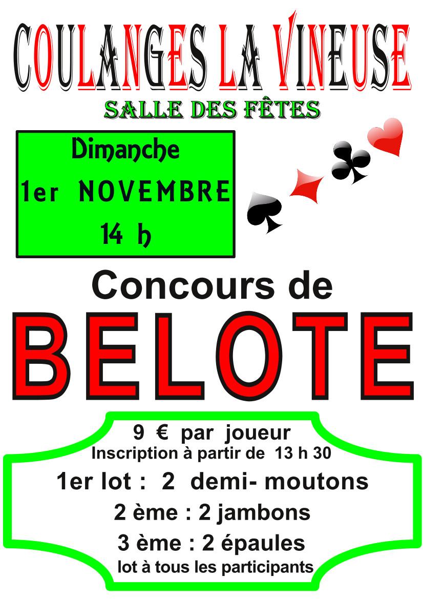 Concours de belote 1er Novembre 2015 à Coulanges la Vineuse 89580