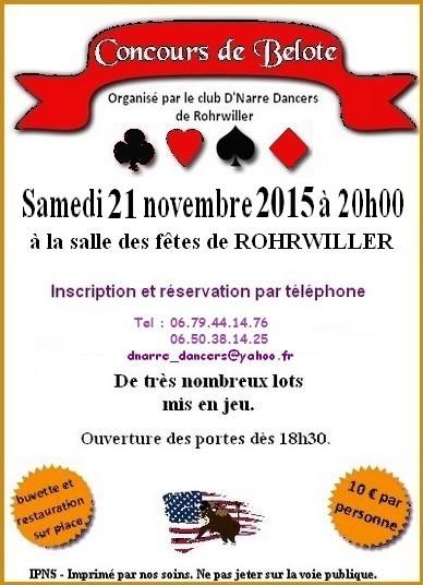 Concours de belote le 21 novembre 2015 à Rohrwiller