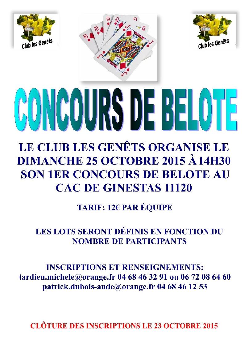 Concours de belote le 25 octobre 2015 à Ginestas – Aude