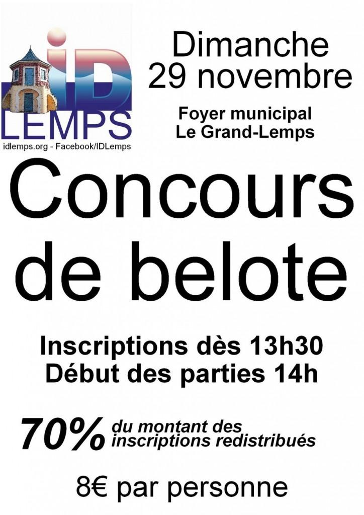 Affiche du Concours de belote organisé dimanche 29 novembre 2015 au Grand-Lemps - Isère