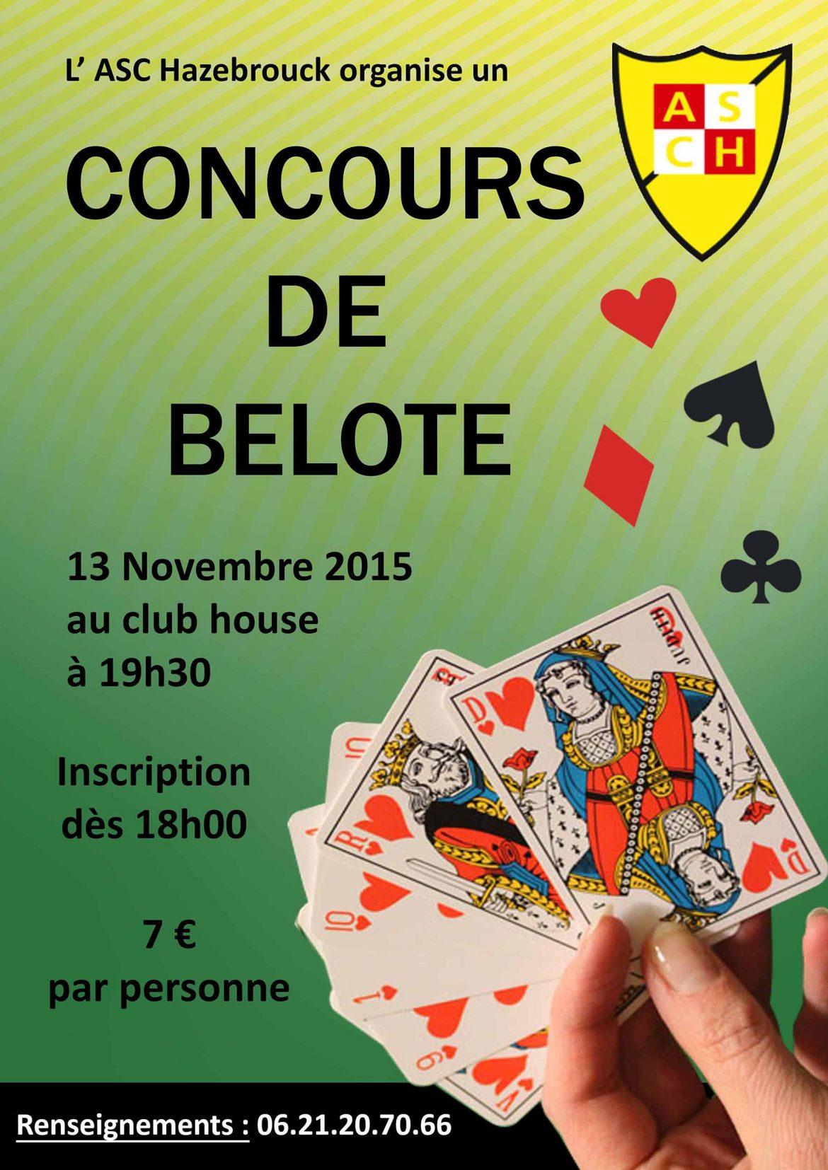 Concours de belote le 13 novembre 2015 à Hazebrouck (59)