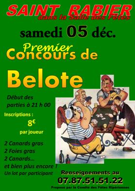Tournoi de belote 5 décembre 2015 à Saint Rabier – Dordogne