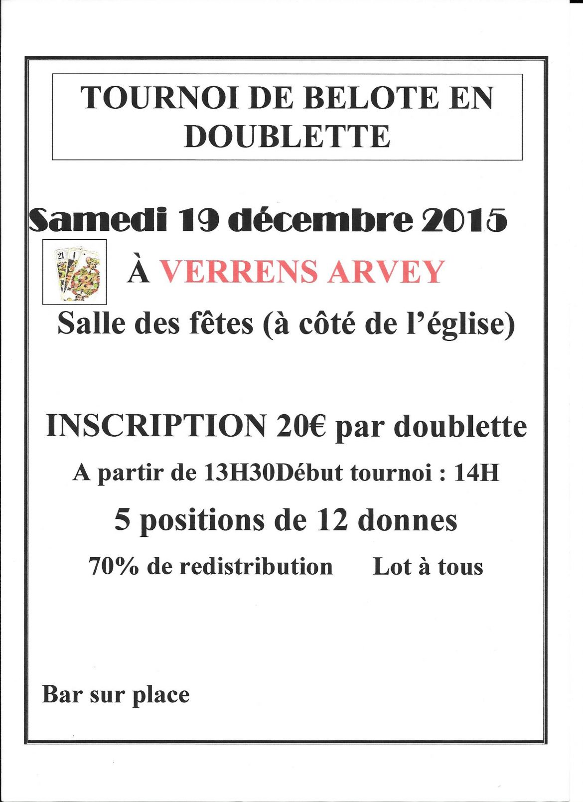 Tournoi de belote le 19 12 2015 à Verrens Arvey 73460