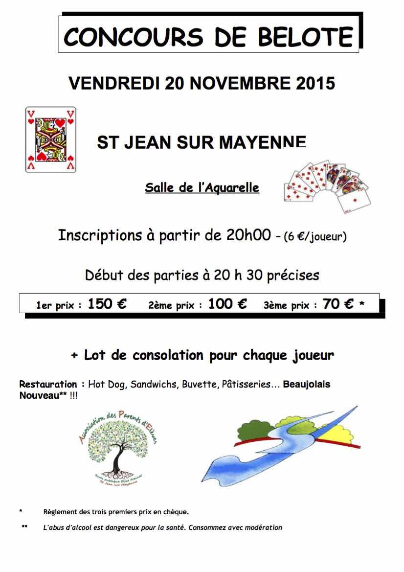 Concours de belote vendredi 20 novembre 2015 Saint Jean sur Mayenne