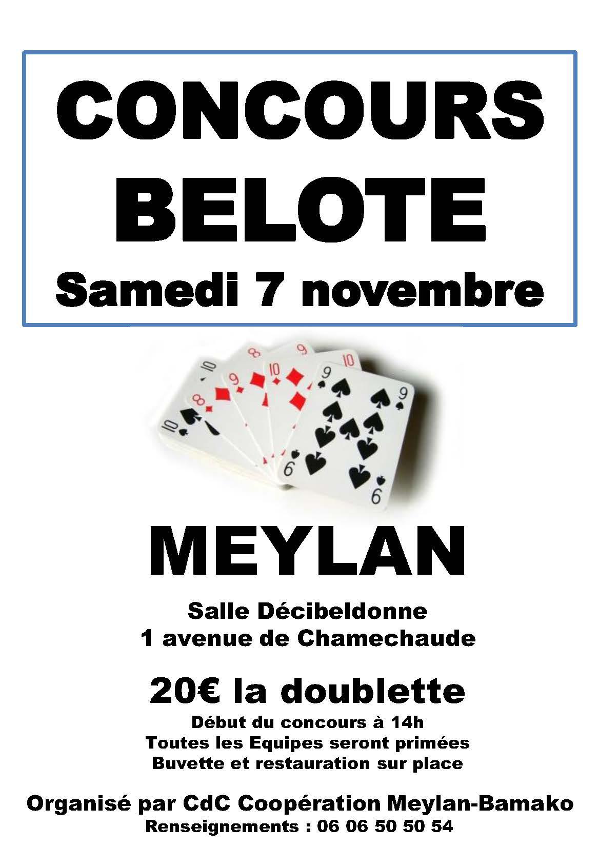 Tournoi de belote le 7 novembre à Meylan (38)