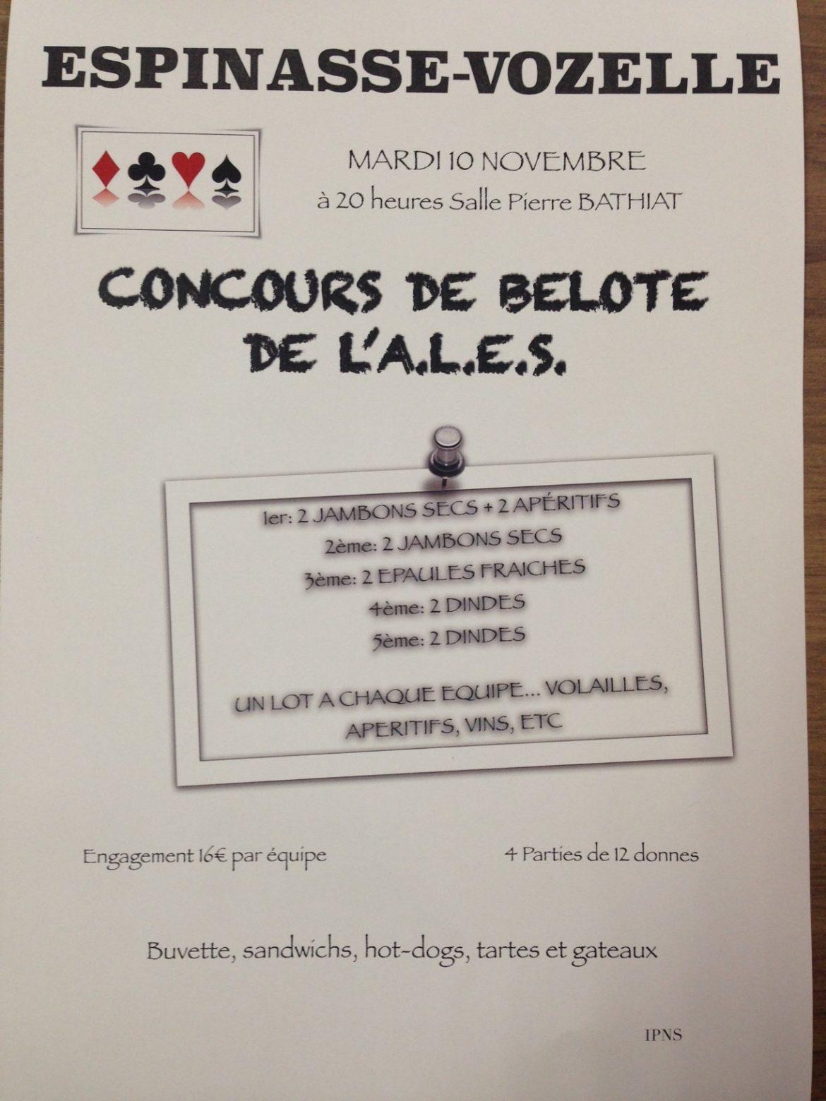 Concours de belote mardi 10 novembre 2015 à Espinasse-Vozelle