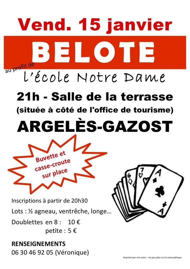 Affiche Tournoi de belote le 15 janvier 2015 à Argelès-Gazost